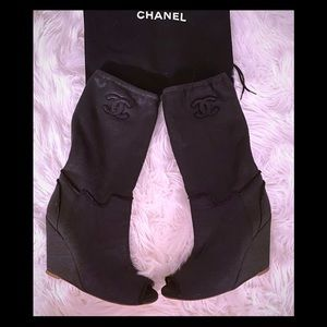 Chanel Cloth Jersey peep toe boots 💔